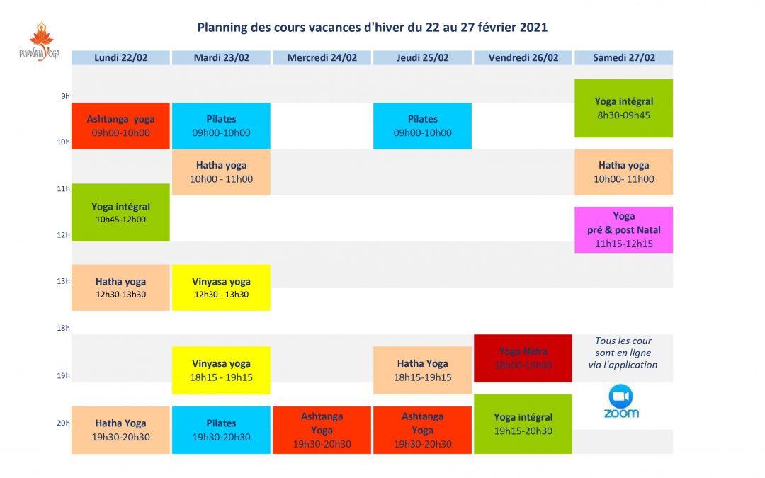 Planning des vacances d'hiver