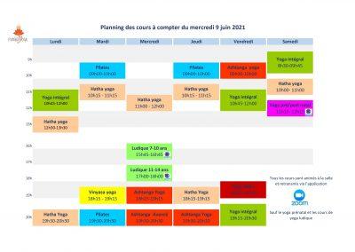 Planning à partir du 09 juin